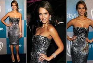 Jessica Alba in a glam Gucci cocktail dress